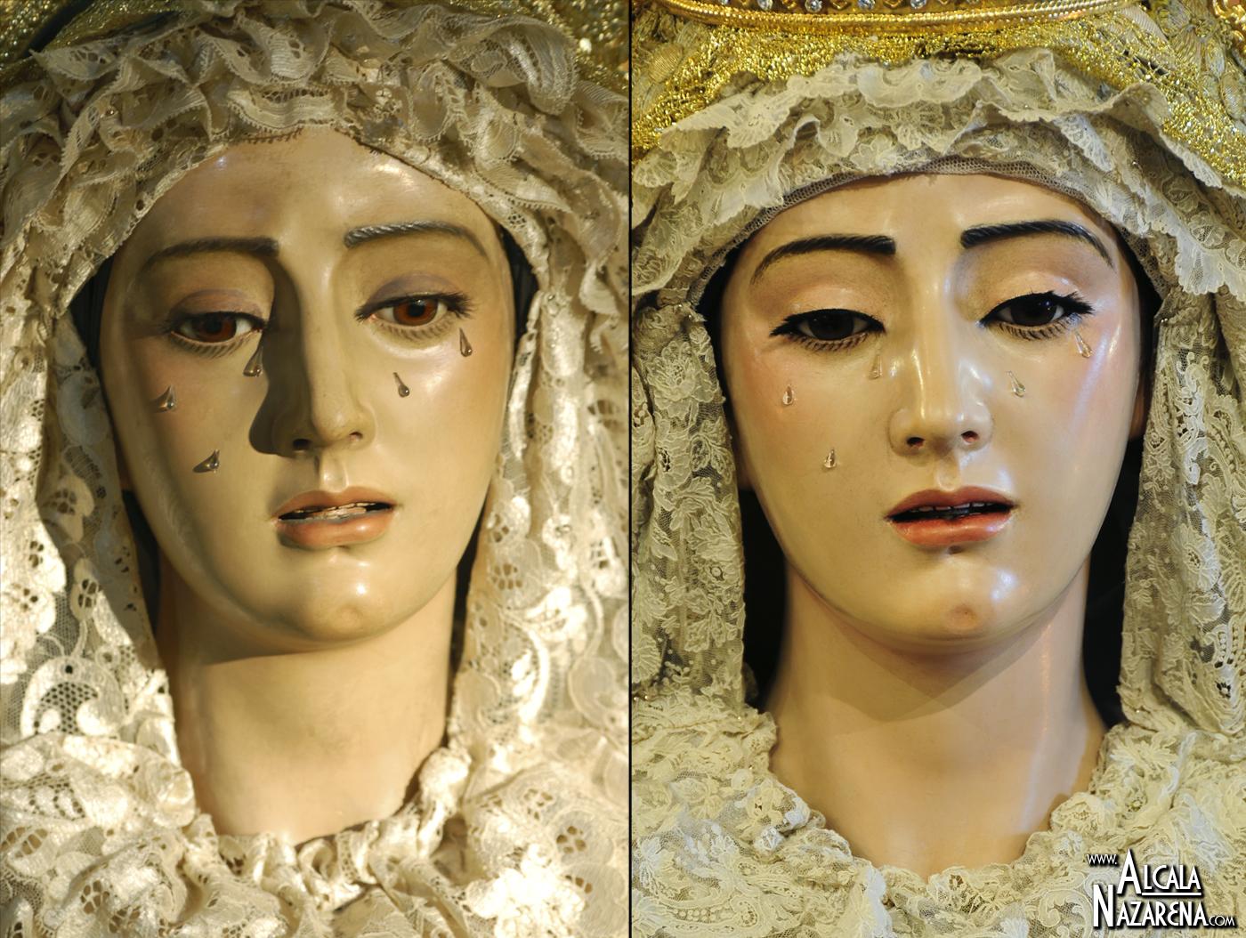 Virgen del Rosario Antes y Después de la restauración