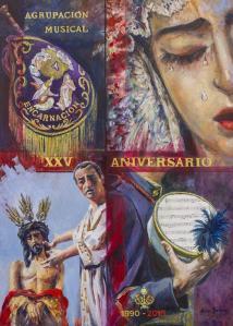 Cartel conmemorativo de los 25 años de la banda. Obra de Nuria Barrera.