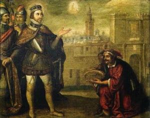 san fernando recibiendo llaves de sevilla, pacheco 1634