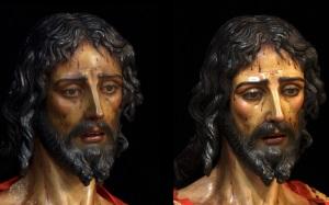 Cautivo de Santa Genoveva antes y después de la restauración. Foto-Web Fernando Aguado
