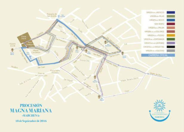 Mapa de los itinerarios de Marchena