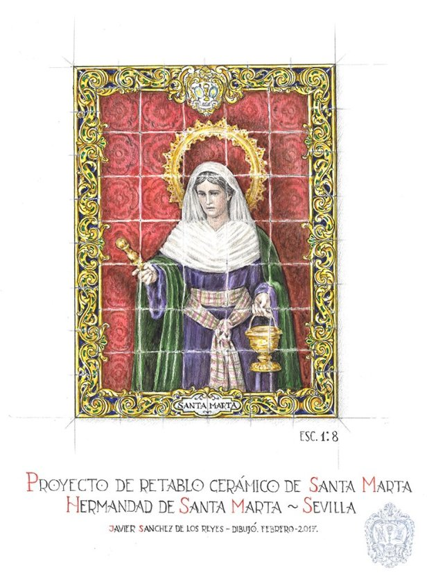 Boceto del azulejo de Santa Marta